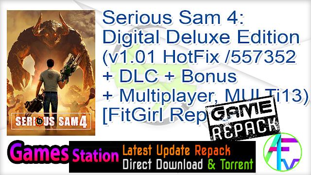 Serious Sam 4 Digital Deluxe Edition (v1.01 HotFix Build 557352 + DLC + Bonus + Multiplayer, MULTi13) [FitGirl Repack, Selective Download – from 25.2 GB]